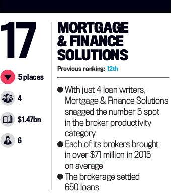 Mortgage & Finance Solutions, Top 25 Brokerages 2016