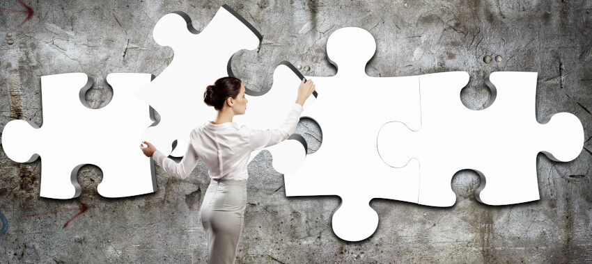 businesswoman puzzle network