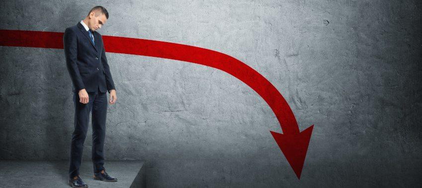 red arrow down man ta