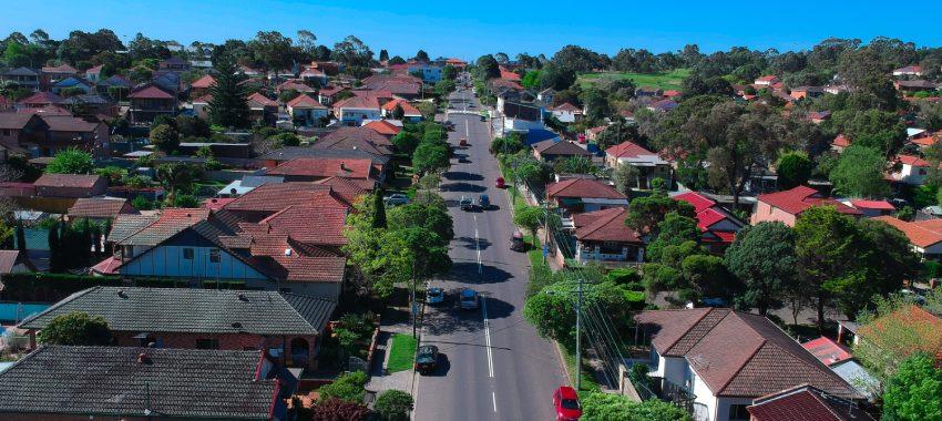aerial suburban street ta