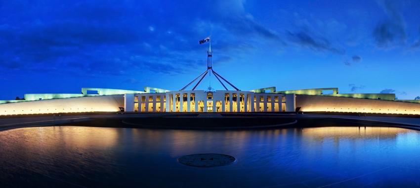 rsz parliament house canberra dusk panorama